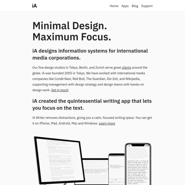 iA Inc. Minimal Design. Maximum Focus.