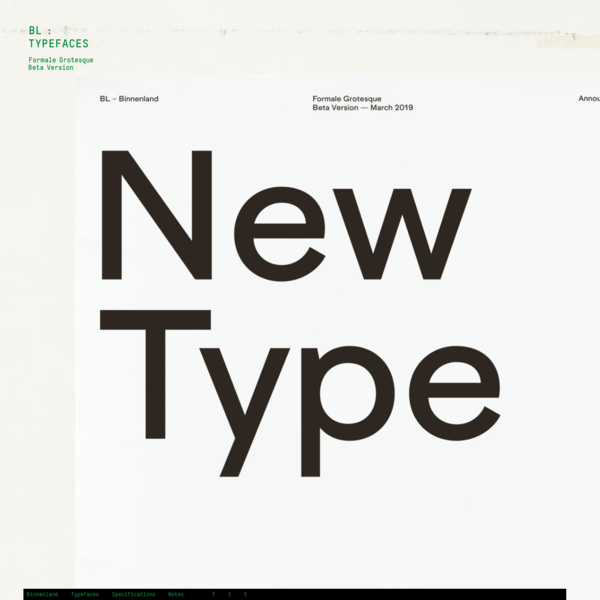 Binnenland Type Foundry * Formale Grotesque