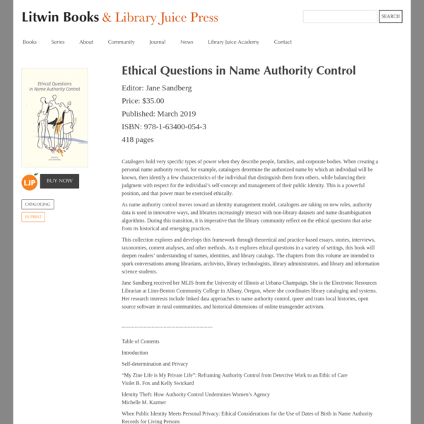 Ethical Questions in Name Authority Control   Litwin Books & Library Juice Press