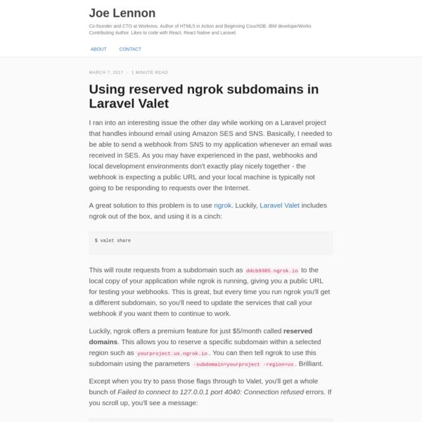 Using reserved ngrok subdomains in Laravel Valet