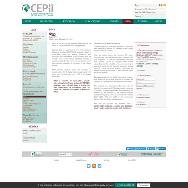 CEPII - BACI - Presentation