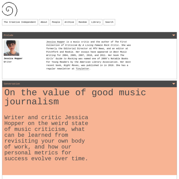 Writer Jessica Hopper on the value of good music journalism – The Creative Independent