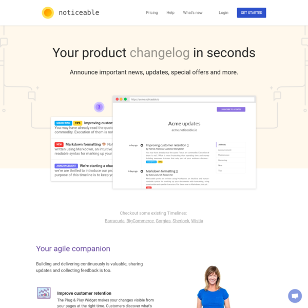Noticeable: the best way to keep your customers updated about what's new.