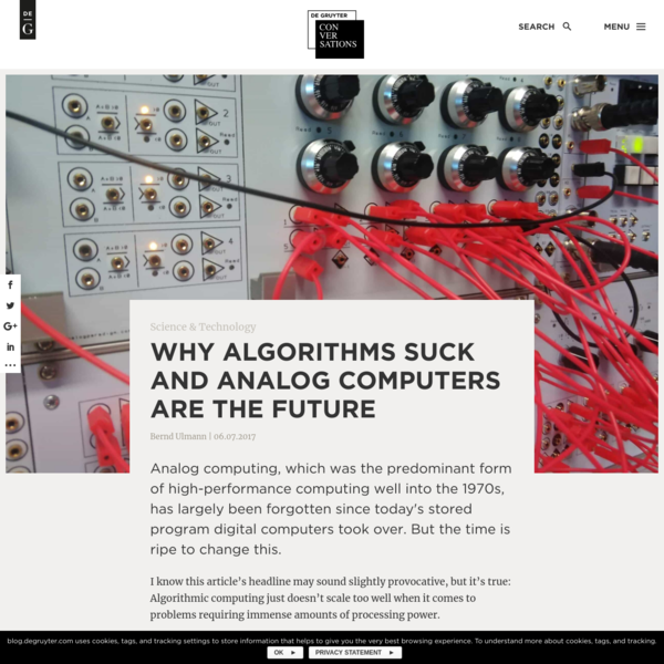 Why Algorithms Suck and Analog Computers are the Future - De Gruyter Conversations