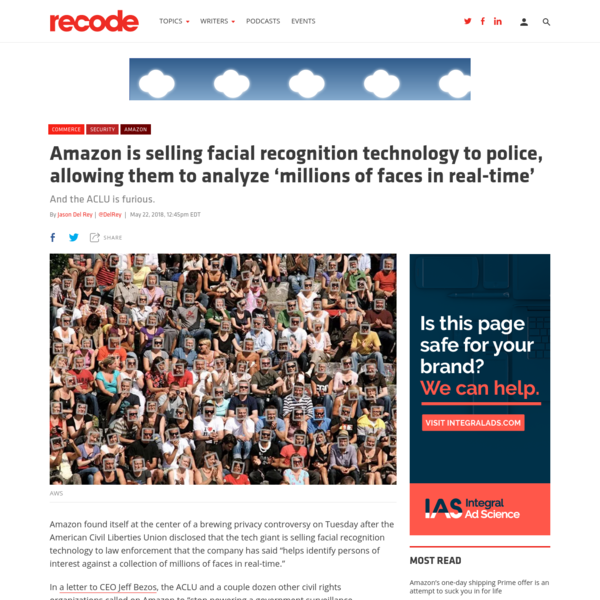 Amazon is selling facial recognition technology to police, allowing them to analyze 'millions of faces in real-time'