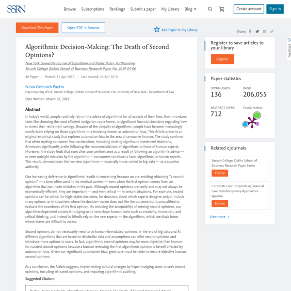 Algorithmic Decision-Making: The Death of Second Opinions? by Nizan Geslevich Packin :: SSRN
