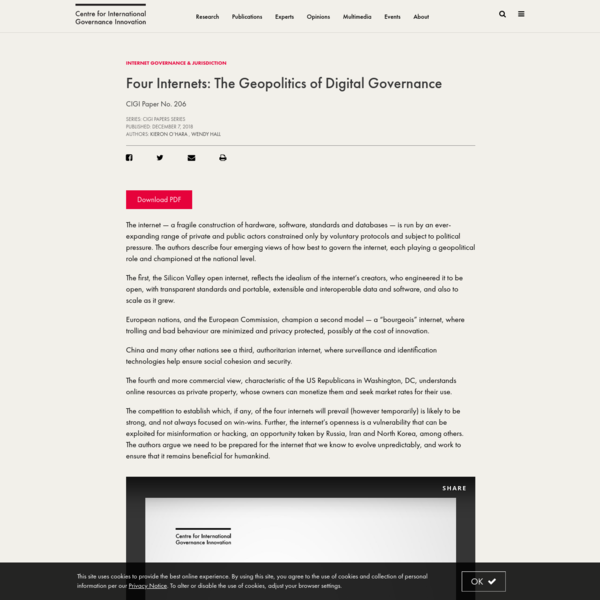 Four Internets: The Geopolitics of Digital Governance