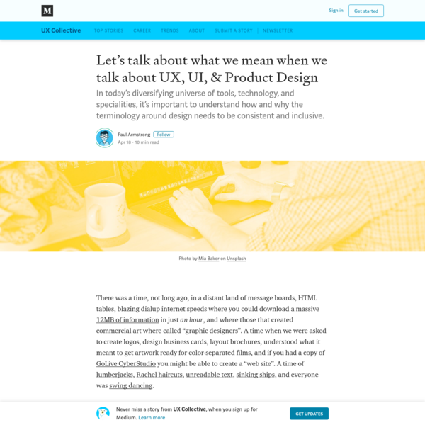 Let's talk about what we mean when we talk about UX, UI, & Product Design