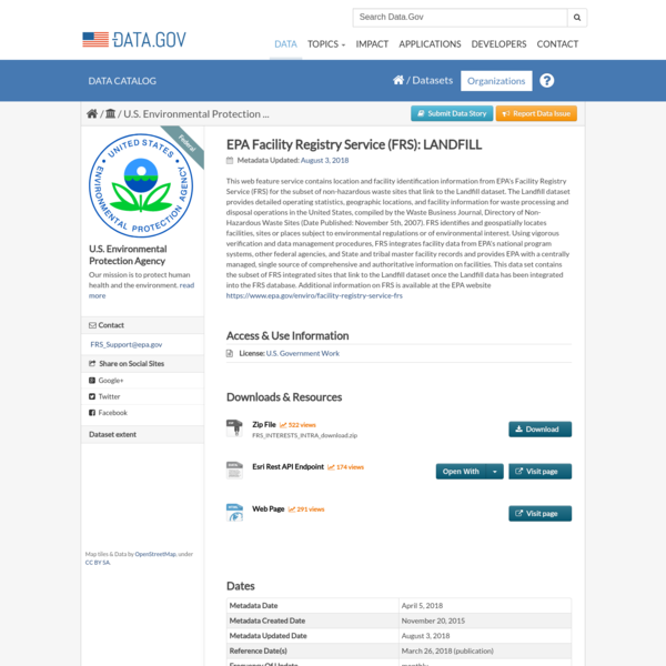 EPA Facility Registry Service (FRS): LANDFILL - Data.gov