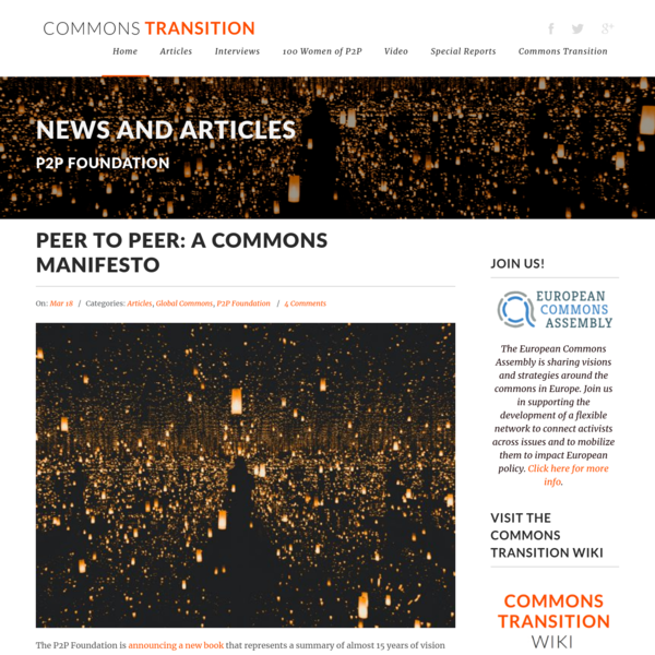 Peer to Peer: A Commons Manifesto - Commons Transition