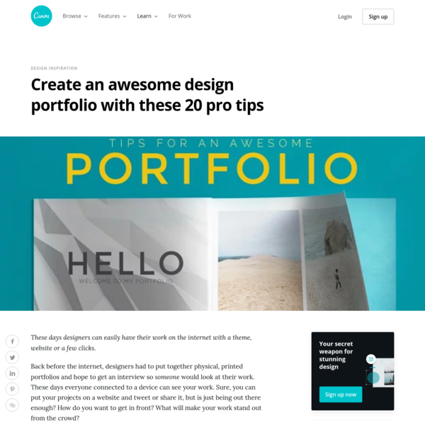 Create an awesome design portfolio with these 20 pro tips - Learn