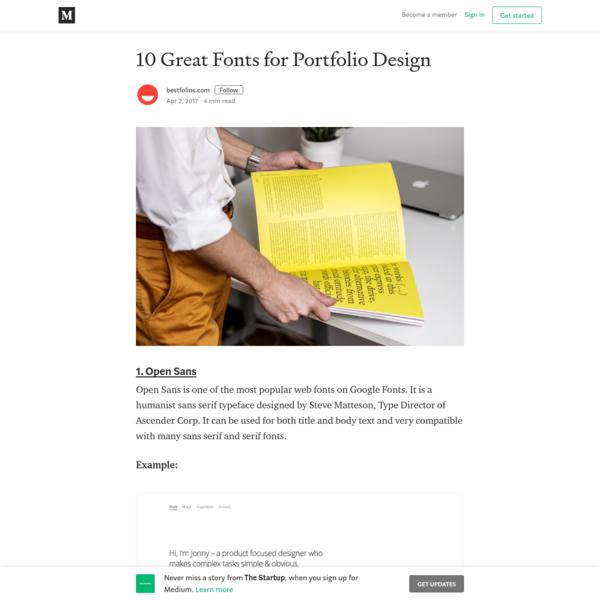10 Great Fonts for Portfolio Design