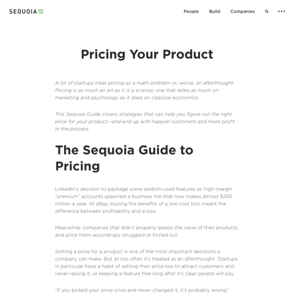 Sequoia - Pricing Your Product