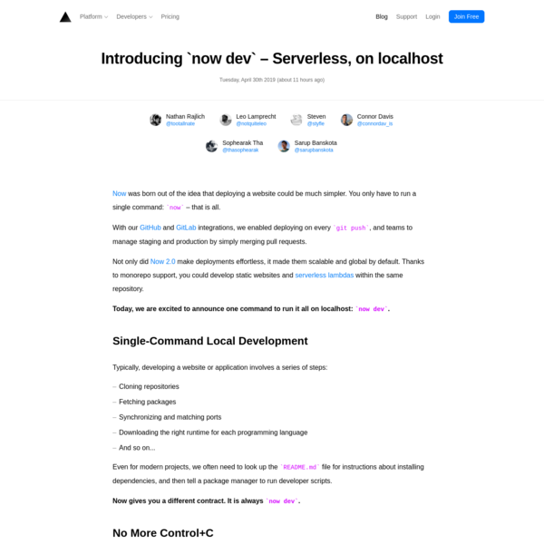 Introducing `now dev` - Serverless, on localhost - ZEIT