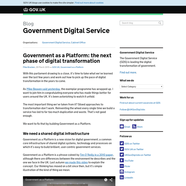 Government as a Platform: the next phase of digital transformation