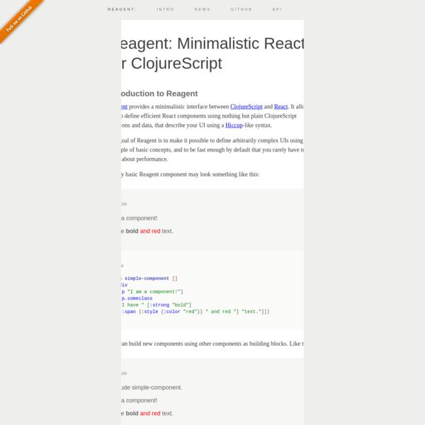 Reagent: Minimalistic React for ClojureScript