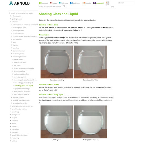 Shading Glass and Liquid - Arnold for Cinema 4D User Guide 5 - Arnold Renderer