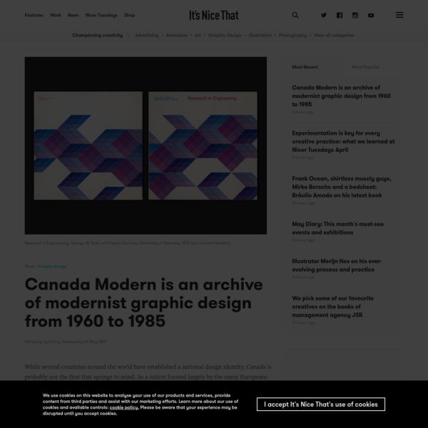 Canada Modern is an archive of modernist graphic design from 1960 to 1985
