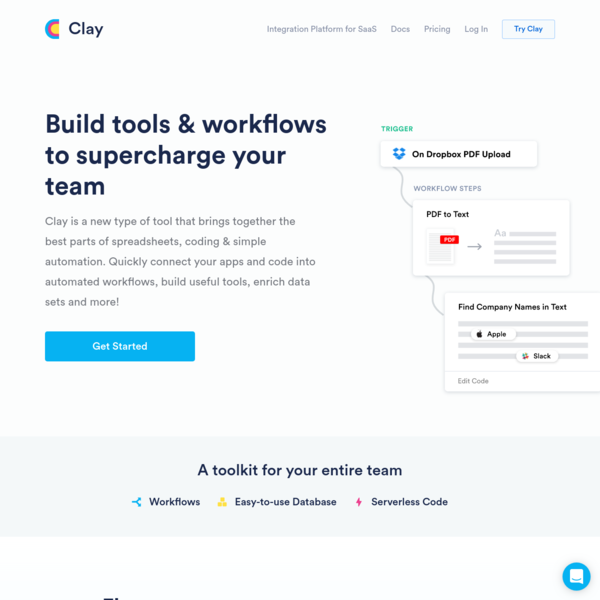 Clay - Workflows, Simple DB, and Serverless code to build tools and powerful automation for your team