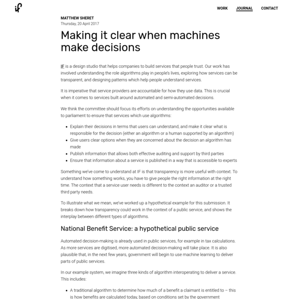 Making it clear when machines make decisions