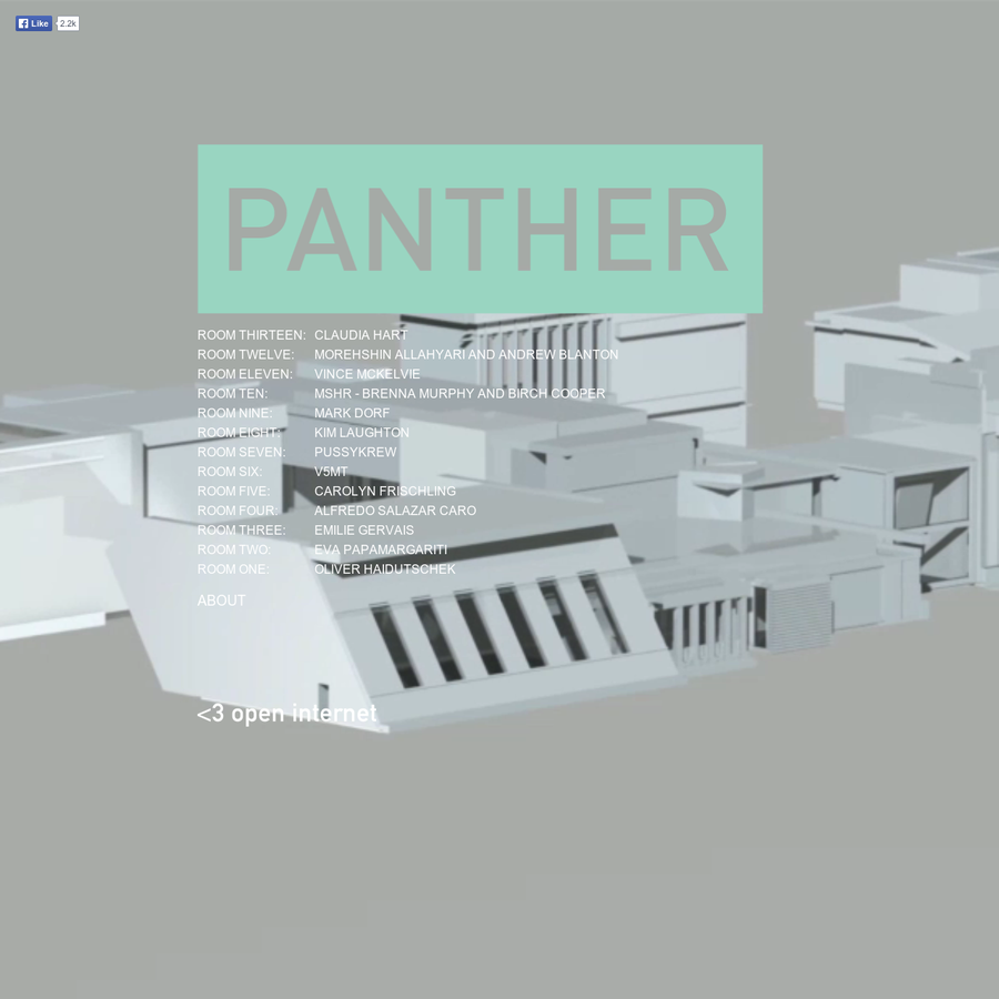 The purpose of Panther is to promote the versatility of file-based installation, via the construction of new architectural spaces for artists. Each project shown at Panther Modern is given a unique structure in the format of a 3D model file, which built to engage the artist and their process of making.