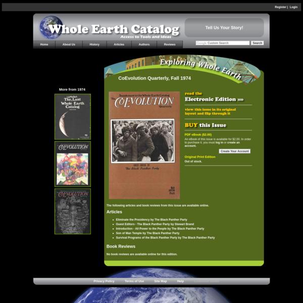 CoEvolution Quarterly Fall 1974 - Whole Earth Catalog