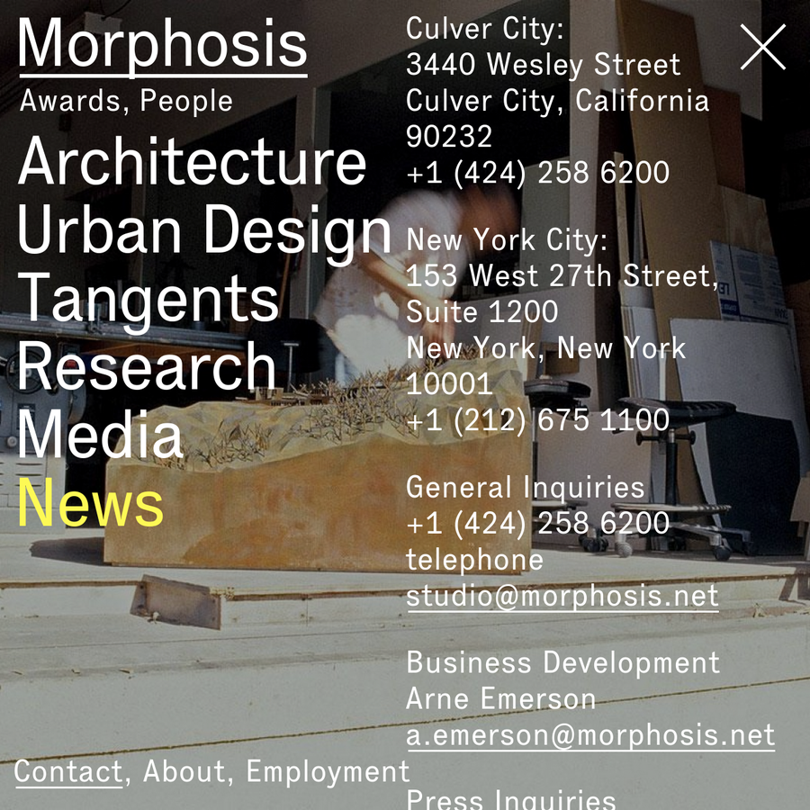 Founded in 1972, Morphosis is an interdisciplinary practice involved in rigorous design and research that yields innovative, iconic buildings and urban environments. With founder Thom Mayne serving as design director, the firm today consists of a group of more than 50 professionals, who remain committed to the practice of architecture as a collaborative enterprise.