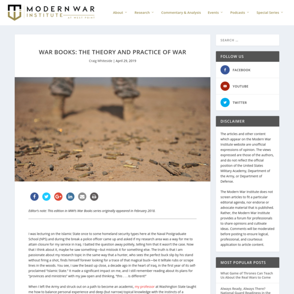 War Books: The Theory and Practice of War - Modern War Institute
