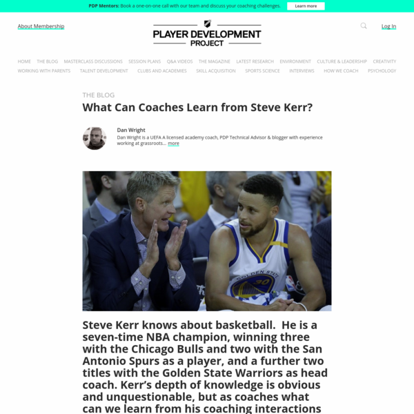 What Can Coaches Learn from Steve Kerr? - Player Development Project
