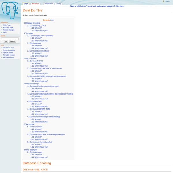 Don't Do This - PostgreSQL wiki