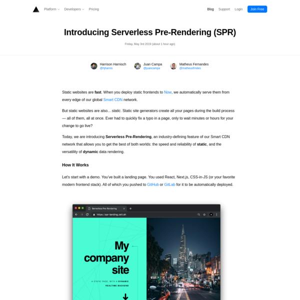Introducing Serverless Pre-Rendering (SPR) - ZEIT