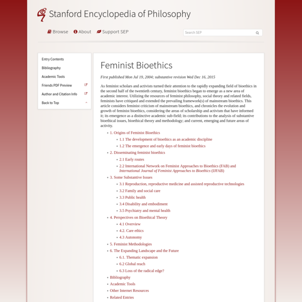 Feminist Bioethics (Stanford Encyclopedia of Philosophy)