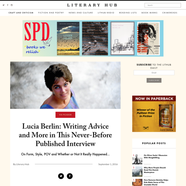 Lucia Berlin: Writing Advice and More in This Never-Before Published Interview