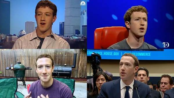 As the founder and CEO of the world's largest social media corporation, what does Mark Zuckerberg think about? While we get clues from his posts on Facebook and elsewhere, a primary window into this question is through his public video recorded appearances.