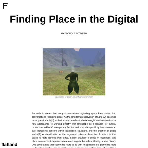 Finding Place in the Digital by Nicholas O' Brien