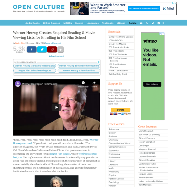 Werner Herzog Creates Required Reading & Movie Viewing Lists for Enrolling in His Film School