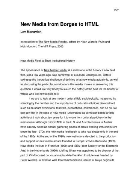 HCI README New Media from Borges to HTML (Lev Manovich) (2001)