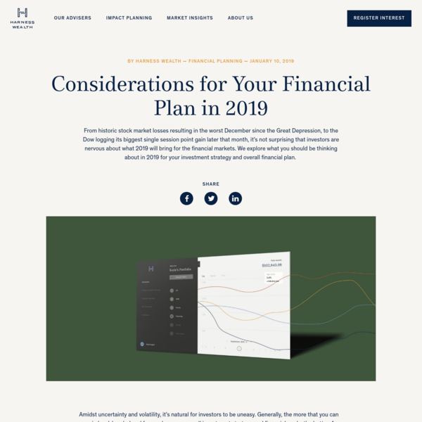 Considerations for Your Financial Plan in 2019 - Harness Wealth | Harness the full potential of your wealth
