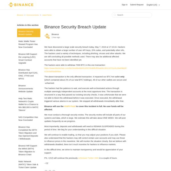 Binance Security Breach Update