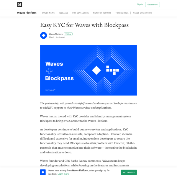 Easy KYC for Waves with Blockpass
