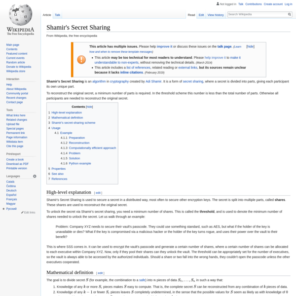Shamir's Secret Sharing - Wikipedia
