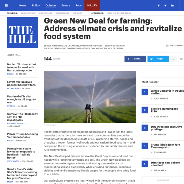 Green New Deal for farming: Address climate crisis and revitalize food system