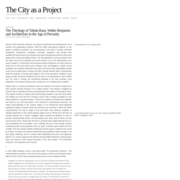 The City as a Project | The Theology of Tabula Rasa: Walter Benjamin and Architecture in the Age of Precarity