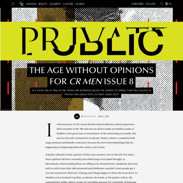 The Age Without Opinions for CR MEN Issue 8