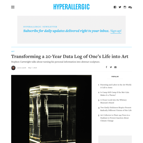 Transforming a 20-Year Data Log of One's Life into Art