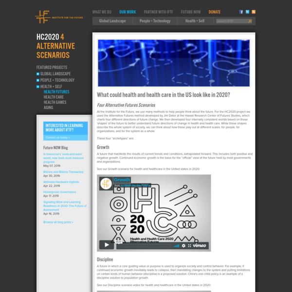 IFTF: HC2020 4 Alternative Scenarios