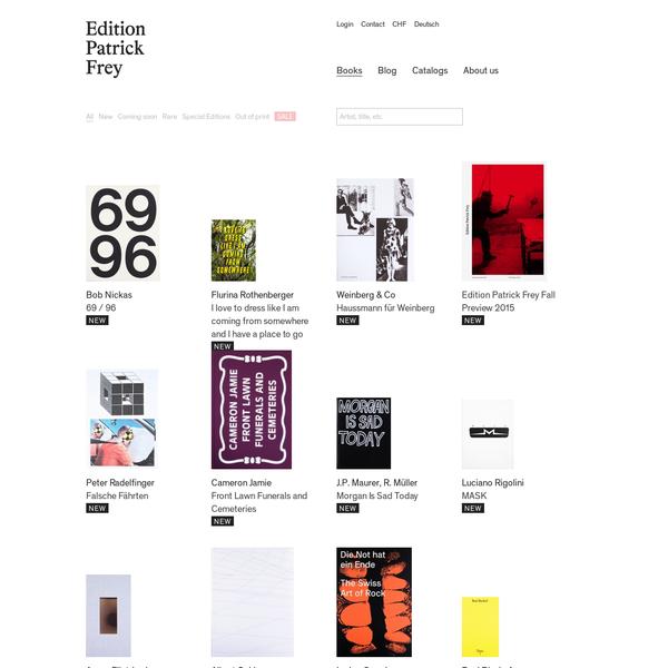 Die Edition Patrick Frey verlegt zurzeit zwölf Bücher pro Jahr mit Schwerpunkt auf Fotografie, Kunst und Projekte aus dem Bereich der Alltagskultur und des Populären.