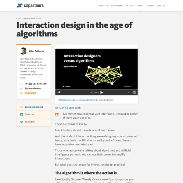 Interaction design in the age of algorithms