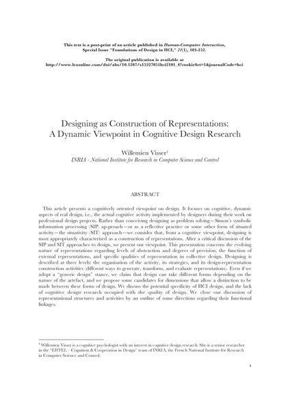 Visser, SIP & SIT models in Human Computer Interaction and Design