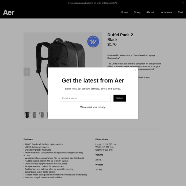 Duffel Pack 2 - Black - Aer | Modern gym bags, travel backpacks and laptop backpacks designed for city travel